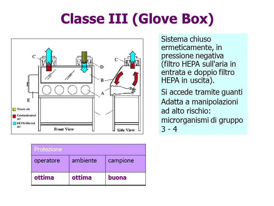 Classe III (Glove Box) Protezione operatoreambientecampione ottima buona Sistema chiuso ermeticamente, in pressione negativa (filtro HEPA sull'aria in