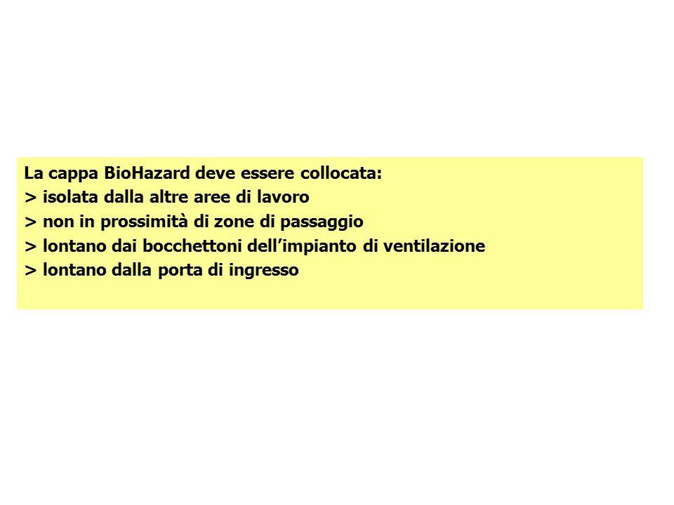 La cappa BioHazard deve essere collocata: > isolata dalla altre aree di lavoro > non in prossimità di zone di passaggio > lontano dai bocchettoni dell