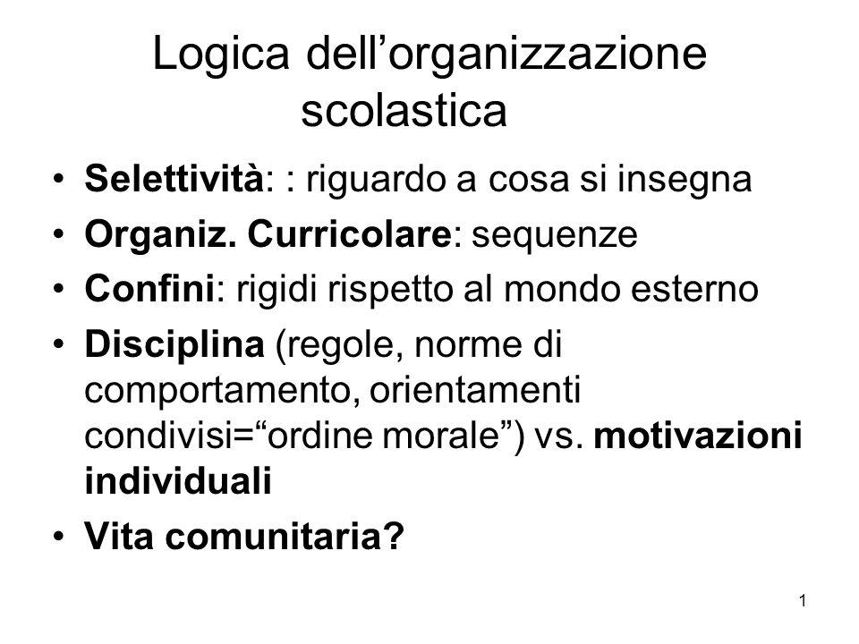 1 Logica dell'organizzazione scolastica Selettività: : riguardo a cosa si insegna Organiz.