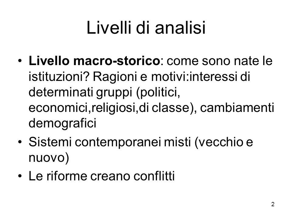 2 Livelli di analisi Livello macro-storico: come sono nate le istituzioni.