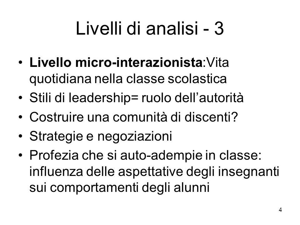4 Livelli di analisi - 3 Livello micro-interazionista:Vita quotidiana nella classe scolastica Stili di leadership= ruolo dell'autorità Costruire una comunità di discenti.