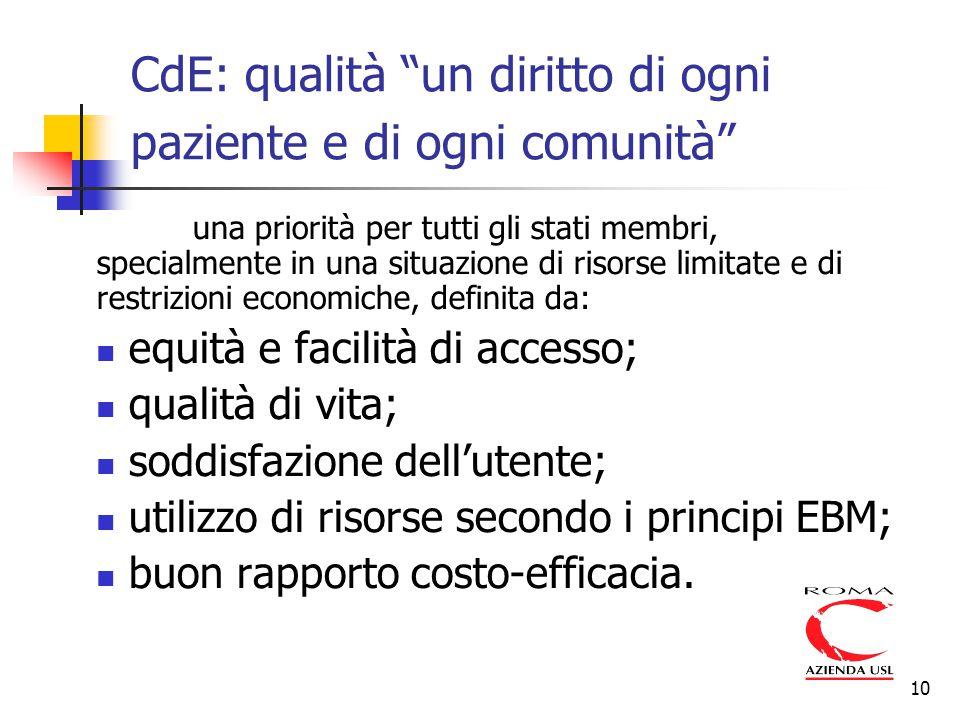 """10 CdE: qualità """"un diritto di ogni paziente e di ogni comunità"""" una priorità per tutti gli stati membri, specialmente in una situazione di risorse li"""
