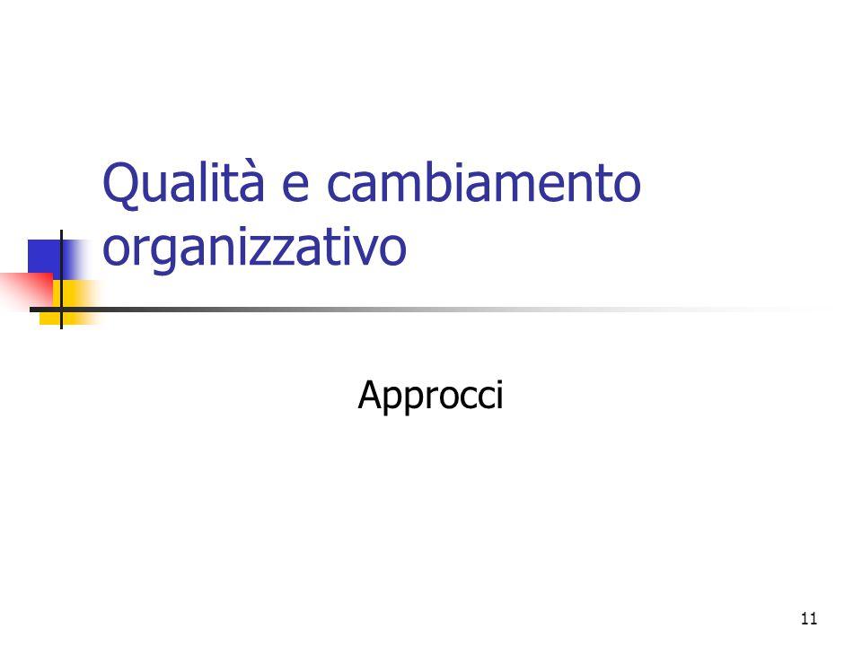 11 Qualità e cambiamento organizzativo Approcci