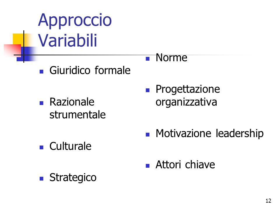 12 Approccio Variabili Giuridico formale Razionale strumentale Culturale Strategico Norme Progettazione organizzativa Motivazione leadership Attori chiave