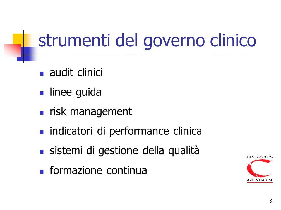 3 strumenti del governo clinico audit clinici linee guida risk management indicatori di performance clinica sistemi di gestione della qualità formazio