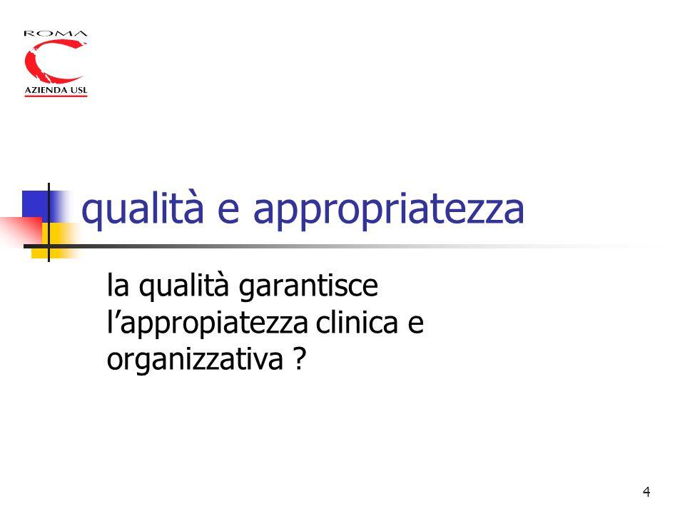 4 qualità e appropriatezza la qualità garantisce l'appropiatezza clinica e organizzativa