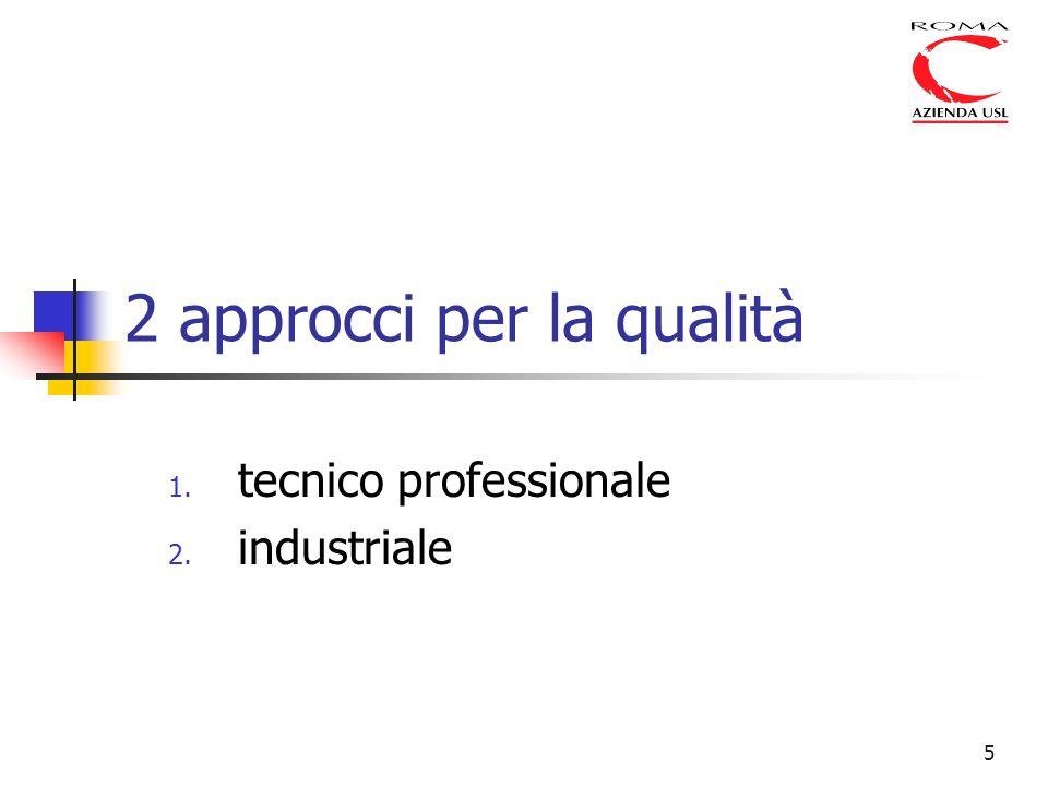5 2 approcci per la qualità 1. tecnico professionale 2. industriale