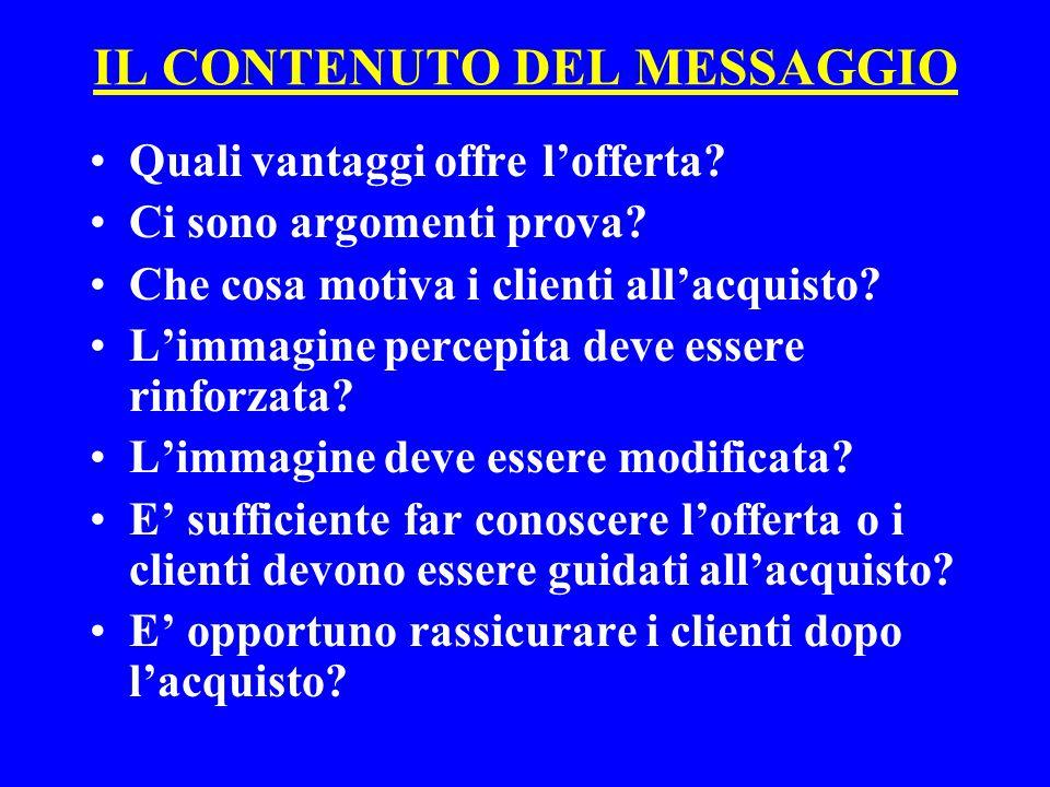 Il messaggio (segue) LA LOGICA TRADIZIONALE Copy strategy Main consumer benefit + argomento prova