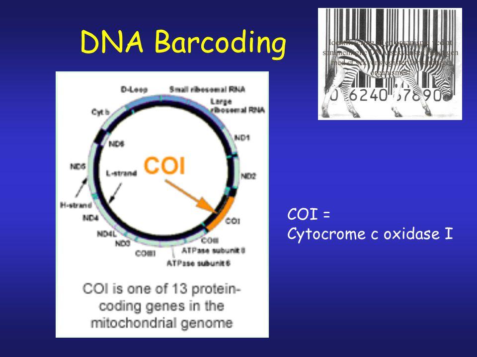 DNA Barcoding COI = Cytocrome c oxidase I