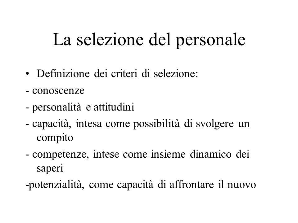 La selezione del personale Definizione dei criteri di selezione: - conoscenze - personalità e attitudini - capacità, intesa come possibilità di svolge
