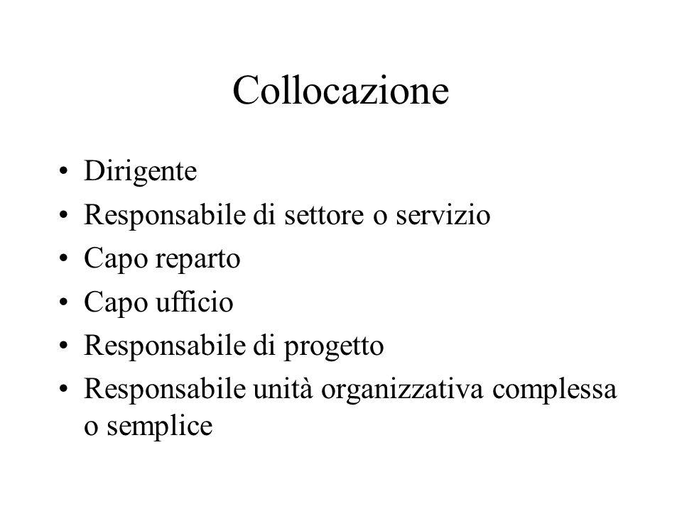Collocazione Dirigente Responsabile di settore o servizio Capo reparto Capo ufficio Responsabile di progetto Responsabile unità organizzativa compless