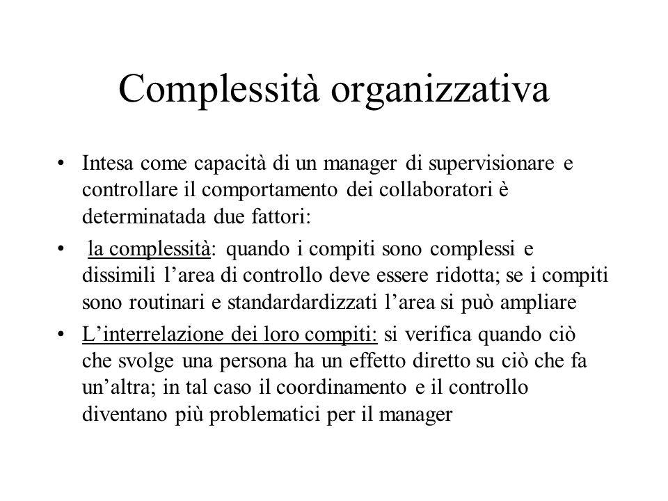 Complessità organizzativa Intesa come capacità di un manager di supervisionare e controllare il comportamento dei collaboratori è determinatada due fa