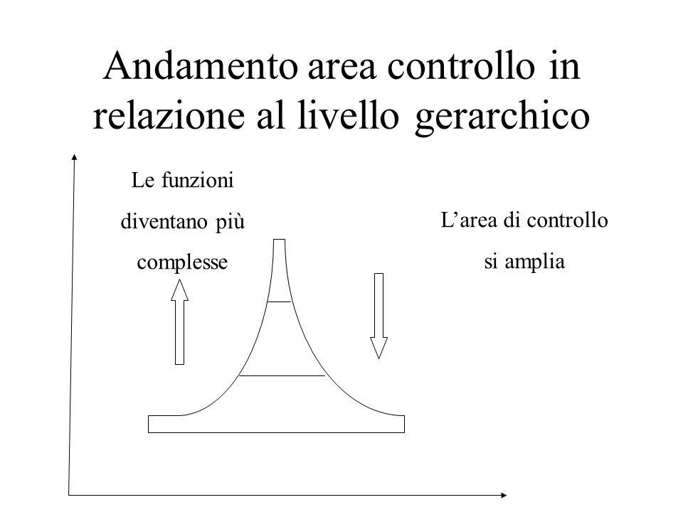 Andamento area controllo in relazione al livello gerarchico Le funzioni diventano più complesse L'area di controllo si amplia