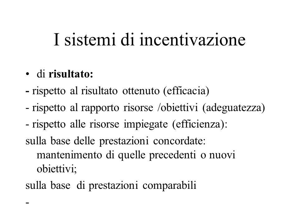 I sistemi di incentivazione di risultato: - rispetto al risultato ottenuto (efficacia) - rispetto al rapporto risorse /obiettivi (adeguatezza) - rispe