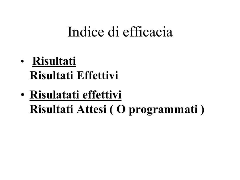 EFFICACIA risultati \ obiettivi In quale misura abbiamo raggiunto l'obiettivo prefissato ( O il risultato atteso ) % di Realizzazione Stato di avanzamento Puntualità