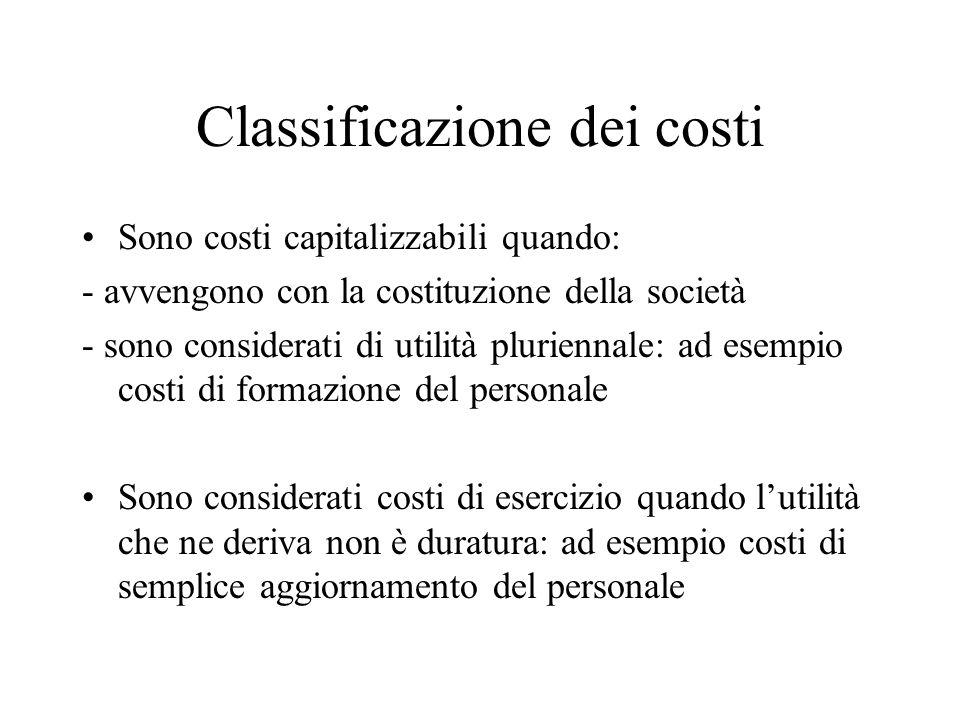 Classificazione dei costi Sono costi capitalizzabili quando: - avvengono con la costituzione della società - sono considerati di utilità pluriennale:
