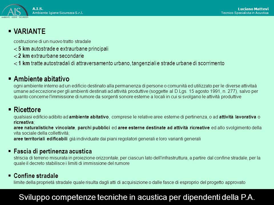 Luciano Mattevi Tecnico Specialista in Acustica Esistenti infrastrutture esistenti ampliamento in sede e alle nuove infrastrutture affiancamento a quelle esistenti varianti Campo di applicazione A.