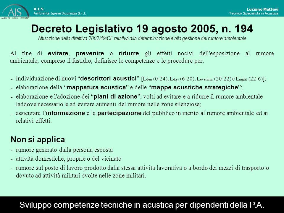 Entro il 30 giugno 2007 Luciano Mattevi Tecnico Specialista in Acustica Sviluppo competenze tecniche in acustica per dipendenti della P.A.