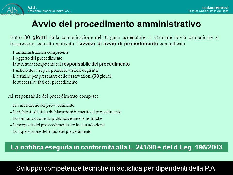 Diritto alla difesa Luciano Mattevi Tecnico Specialista in Acustica Attraverso la notifica dell'avviso di avvio di procedimento è garantita: la partecipazione al procedimento amministrativo (art.