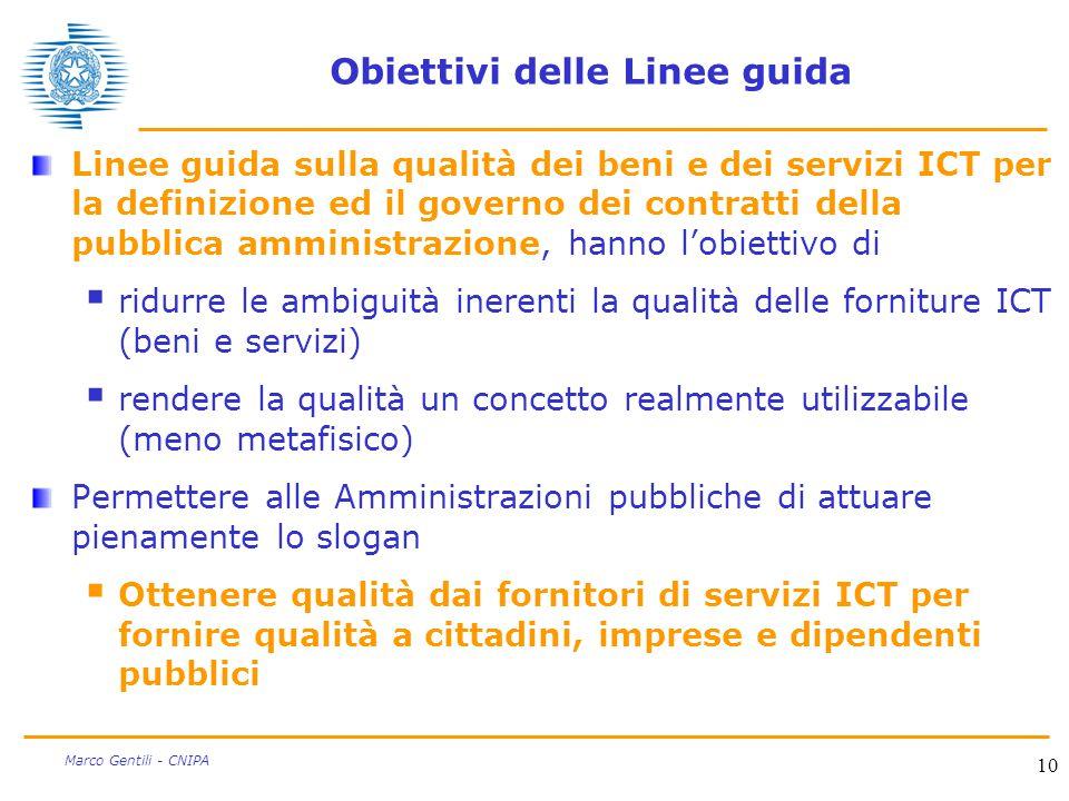 10 Marco Gentili - CNIPA Obiettivi delle Linee guida Linee guida sulla qualità dei beni e dei servizi ICT per la definizione ed il governo dei contrat