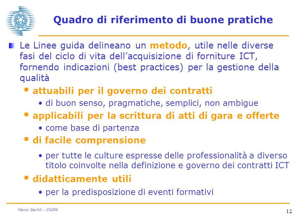 12 Marco Gentili - CNIPA Quadro di riferimento di buone pratiche Le Linee guida delineano un metodo, utile nelle diverse fasi del ciclo di vita dell'a