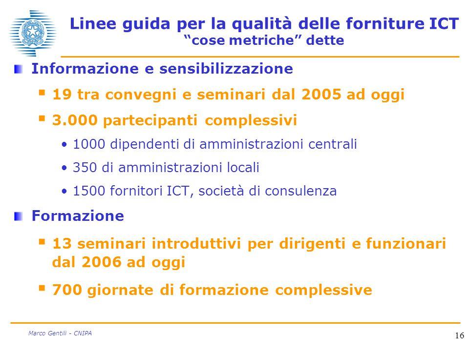 """16 Marco Gentili - CNIPA Linee guida per la qualità delle forniture ICT """"cose metriche"""" dette Informazione e sensibilizzazione  19 tra convegni e sem"""
