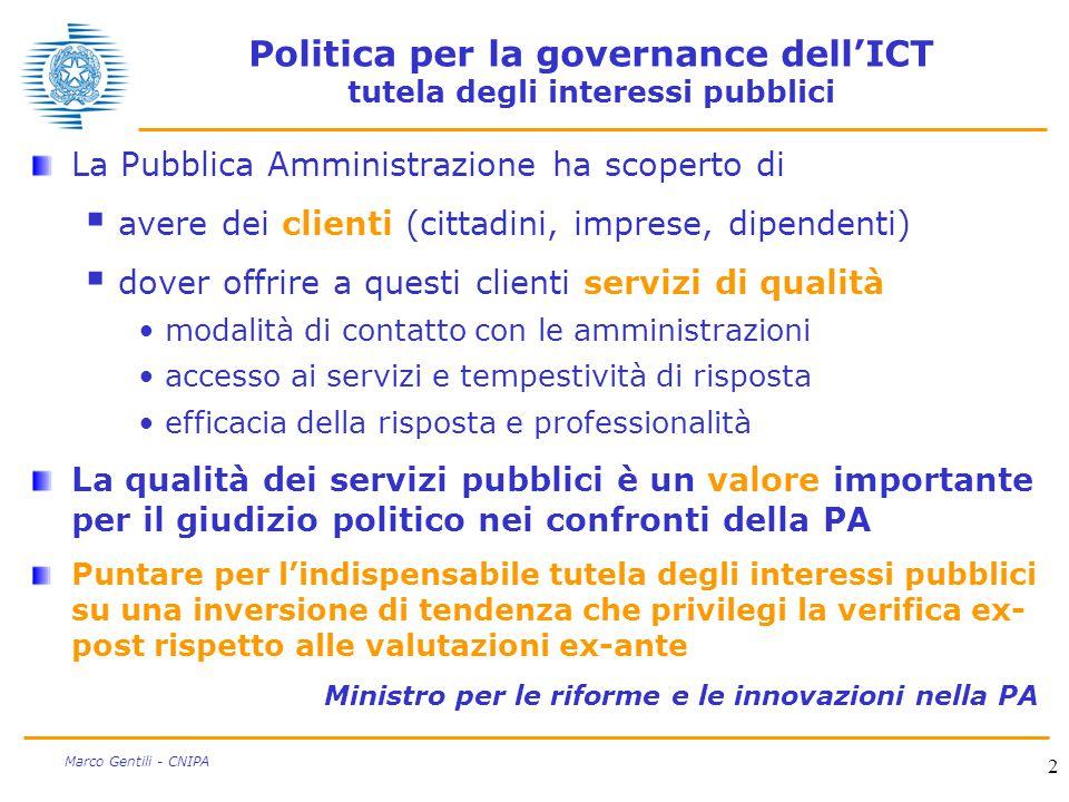 2 Marco Gentili - CNIPA Politica per la governance dell'ICT tutela degli interessi pubblici La Pubblica Amministrazione ha scoperto di  avere dei cli