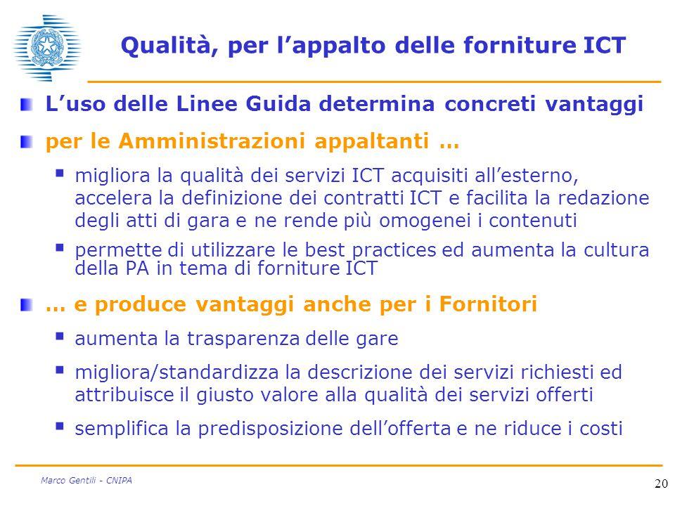 20 Marco Gentili - CNIPA Qualità, per l'appalto delle forniture ICT L'uso delle Linee Guida determina concreti vantaggi per le Amministrazioni appalta