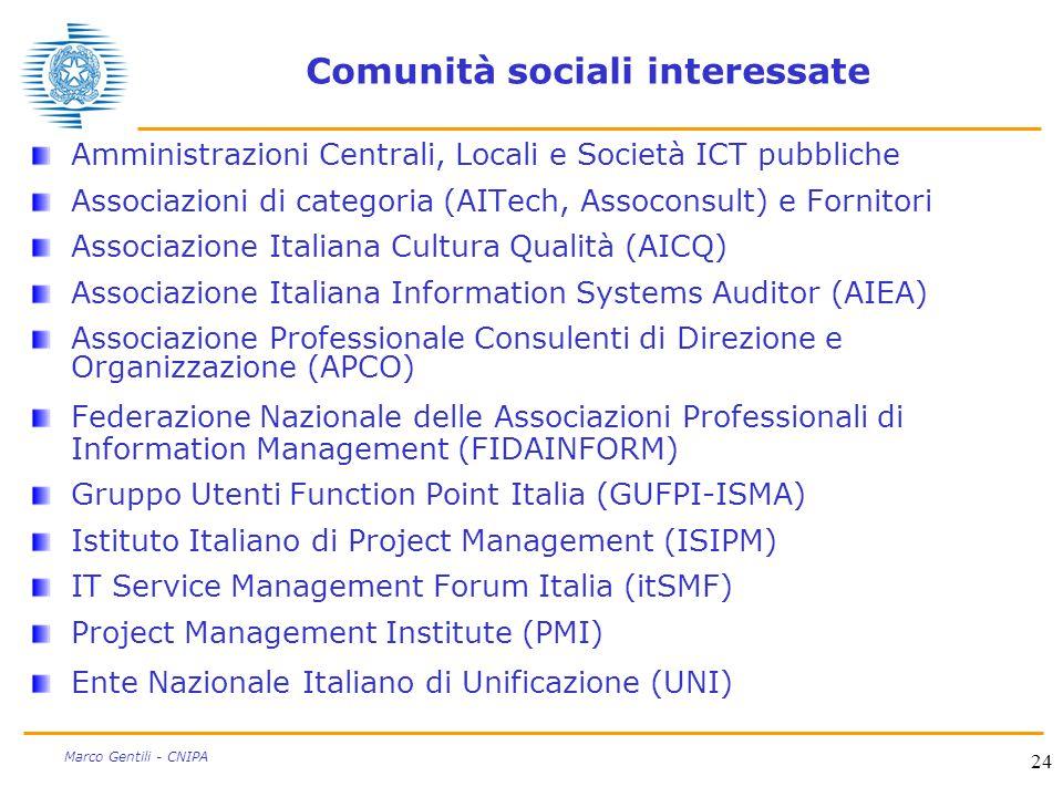 24 Marco Gentili - CNIPA Comunità sociali interessate Amministrazioni Centrali, Locali e Società ICT pubbliche Associazioni di categoria (AITech, Asso