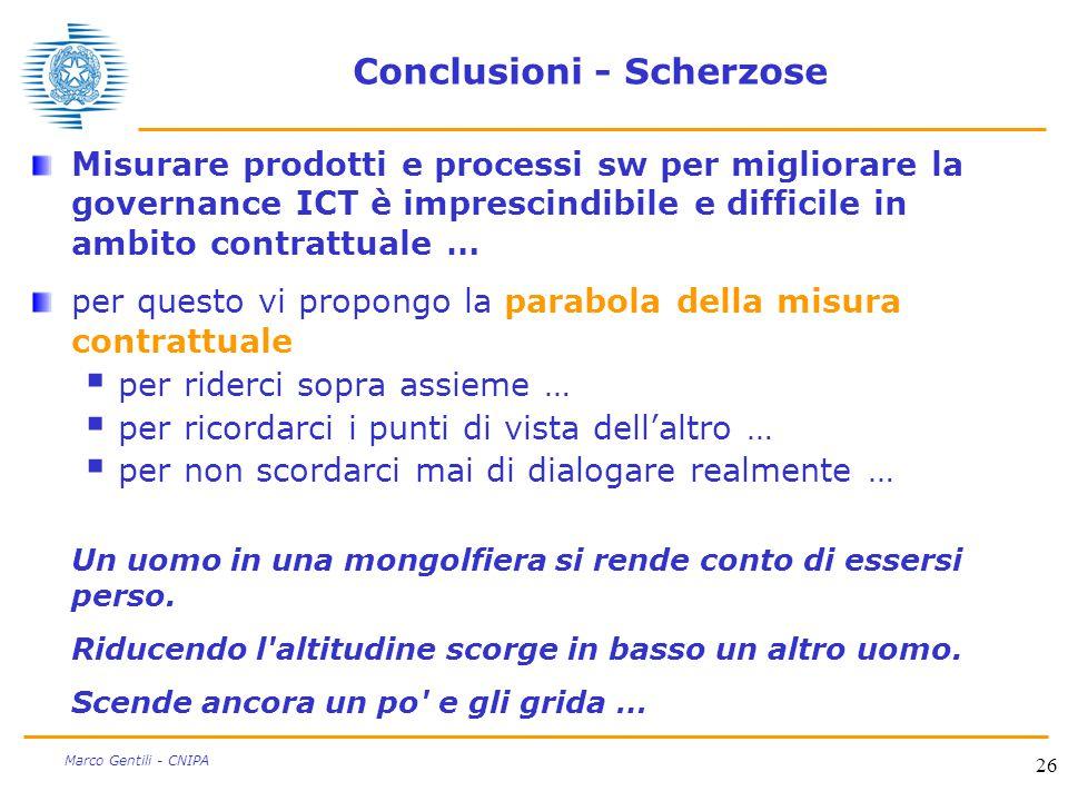 26 Marco Gentili - CNIPA Conclusioni - Scherzose Misurare prodotti e processi sw per migliorare la governance ICT è imprescindibile e difficile in amb