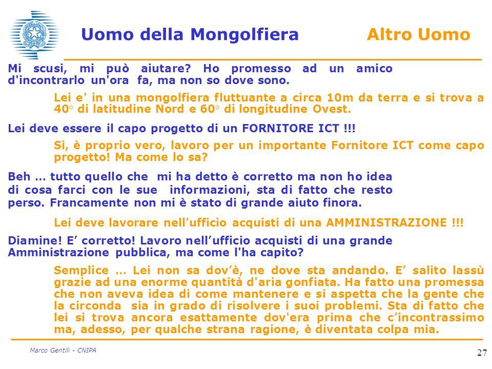 27 Marco Gentili - CNIPA Uomo della Mongolfiera Altro Uomo Mi scusi, mi può aiutare.