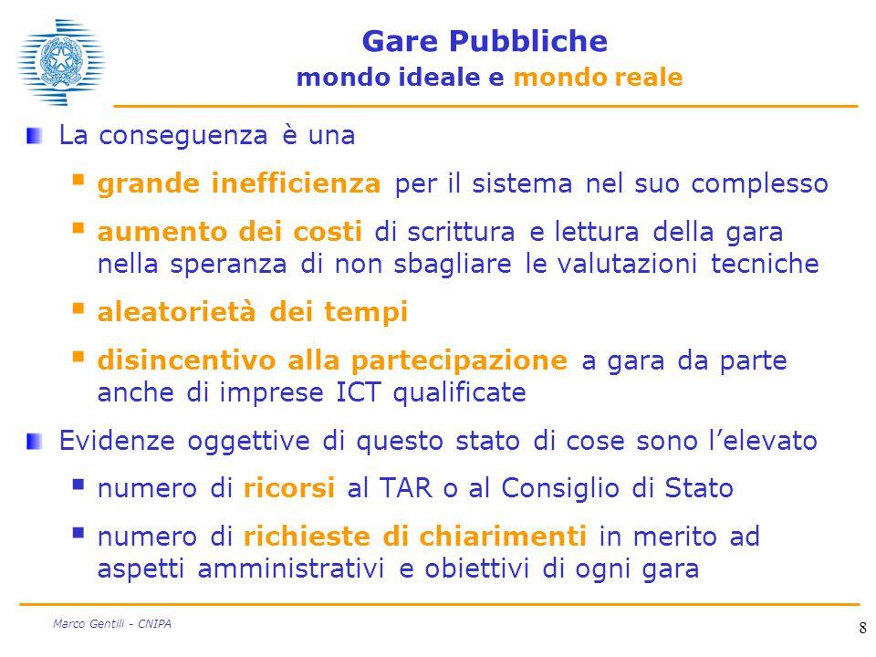 8 Marco Gentili - CNIPA Gare Pubbliche mondo ideale e mondo reale La conseguenza è una  grande inefficienza per il sistema nel suo complesso  aument