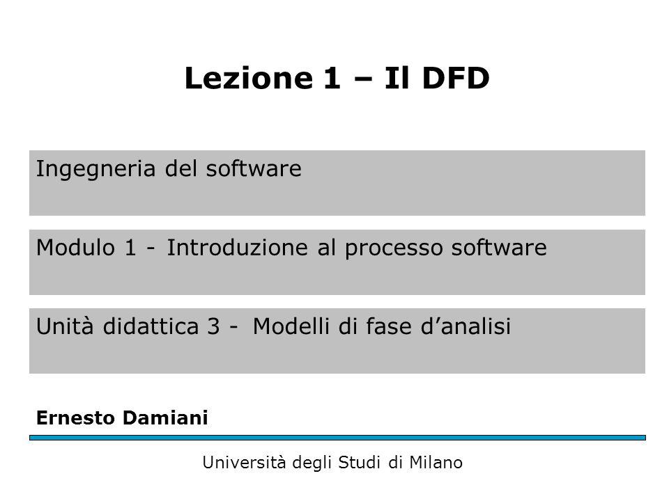 Ingegneria del software Modulo 1 -Introduzione al processo software Unità didattica 3 -Modelli di fase d'analisi Ernesto Damiani Università degli Stud