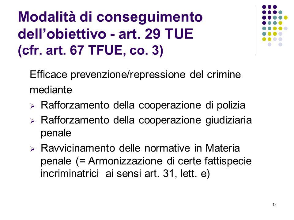 12 Modalità di conseguimento dell'obiettivo - art. 29 TUE (cfr. art. 67 TFUE, co. 3) Efficace prevenzione/repressione del crimine mediante  Rafforzam