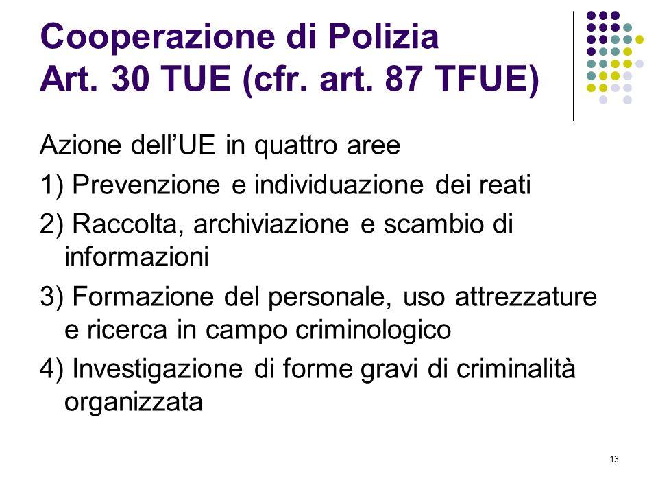 13 Cooperazione di Polizia Art. 30 TUE (cfr. art. 87 TFUE) Azione dell'UE in quattro aree 1) Prevenzione e individuazione dei reati 2) Raccolta, archi