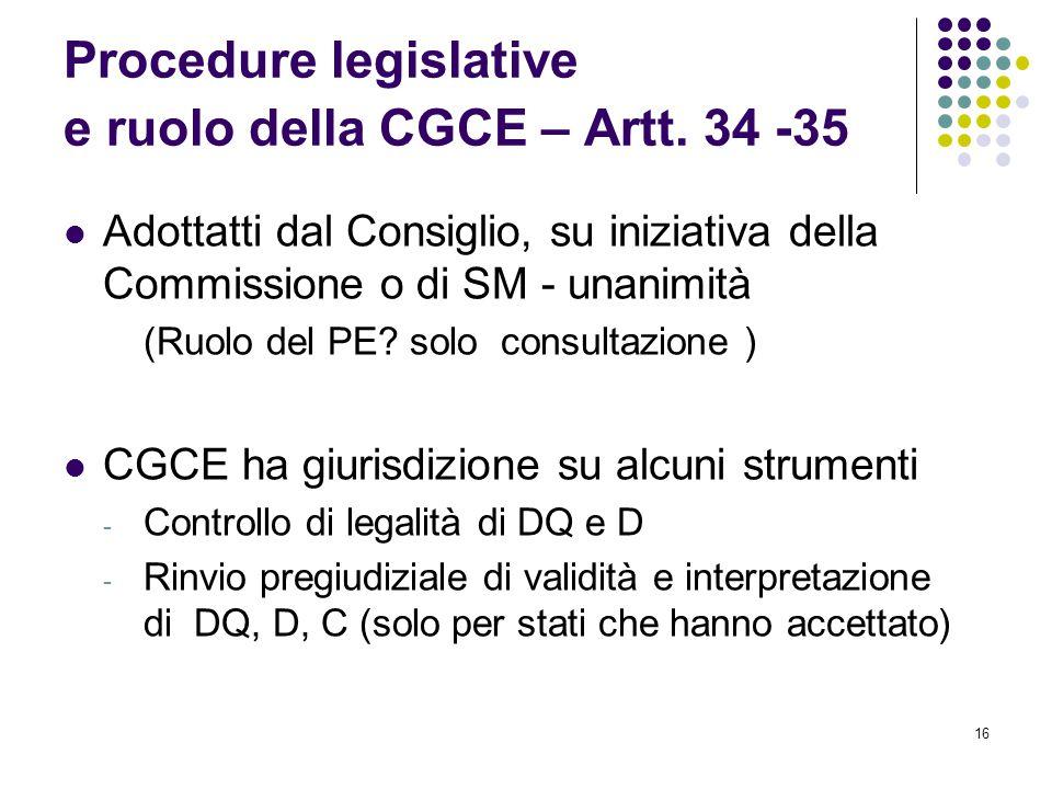 16 Procedure legislative e ruolo della CGCE – Artt. 34 -35 Adottatti dal Consiglio, su iniziativa della Commissione o di SM - unanimità (Ruolo del PE?
