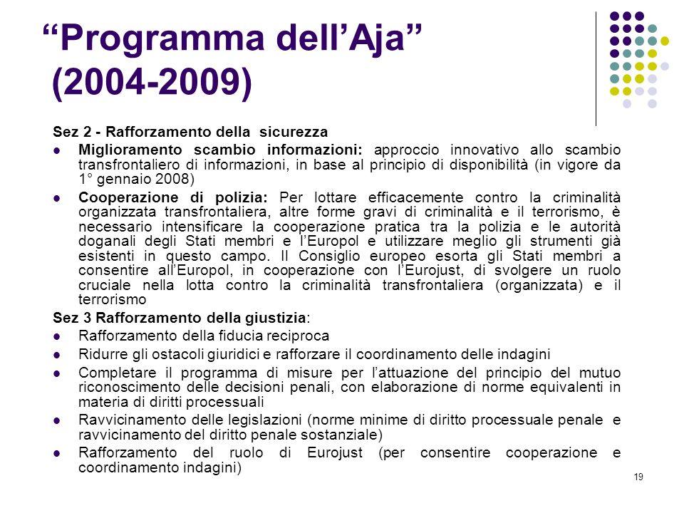 """19 """"Programma dell'Aja"""" (2004-2009) Sez 2 - Rafforzamento della sicurezza Miglioramento scambio informazioni: approccio innovativo allo scambio transf"""