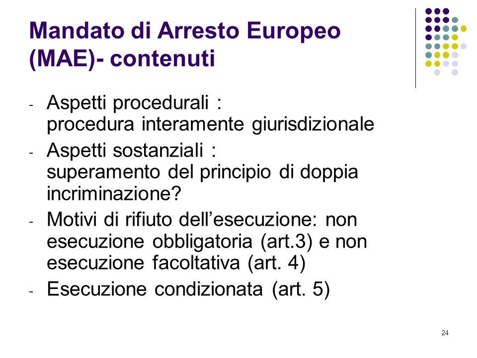 24 Mandato di Arresto Europeo (MAE)- contenuti - Aspetti procedurali : procedura interamente giurisdizionale - Aspetti sostanziali : superamento del p