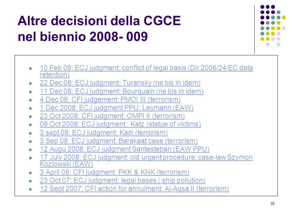 30 Altre decisioni della CGCE nel biennio 2008- 009 10 Feb 09: ECJ judgment: conflict of legal basis (Dir 2006/24/EC data retention) 10 Feb 09: ECJ ju