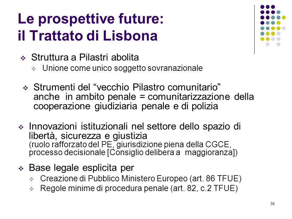 """34 Le prospettive future: il Trattato di Lisbona SStruttura a Pilastri abolita UUnione come unico soggetto sovranazionale SStrumenti del """"vecchi"""