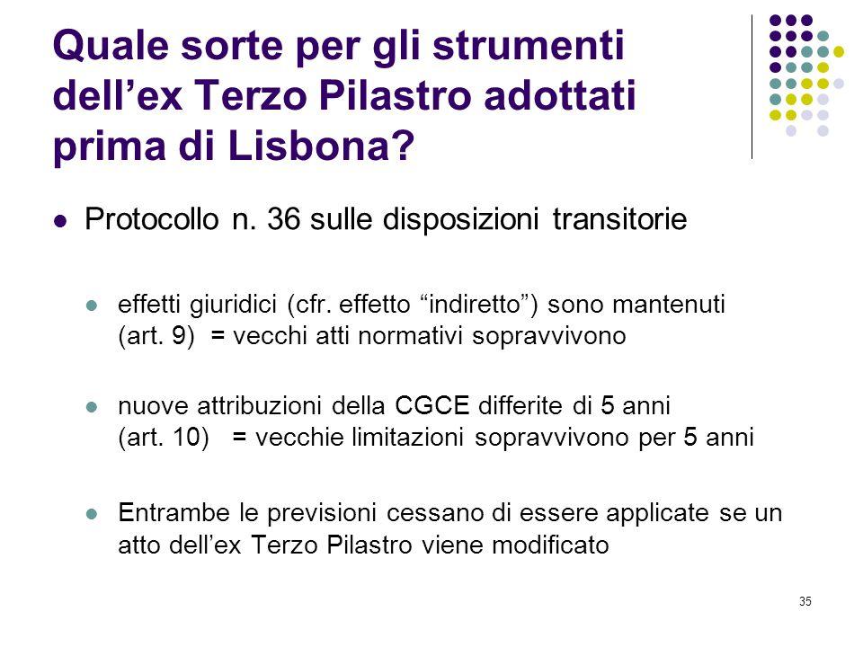 35 Quale sorte per gli strumenti dell'ex Terzo Pilastro adottati prima di Lisbona? Protocollo n. 36 sulle disposizioni transitorie effetti giuridici (