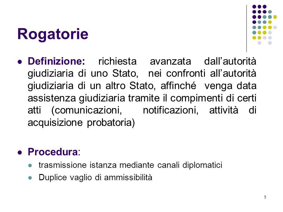 5 Rogatorie Definizione: richiesta avanzata dall'autorità giudiziaria di uno Stato, nei confronti all'autorità giudiziaria di un altro Stato, affinché