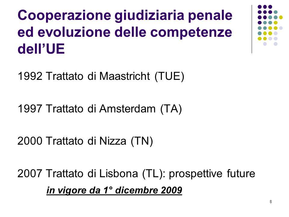 8 Cooperazione giudiziaria penale ed evoluzione delle competenze dell'UE 1992 Trattato di Maastricht (TUE) 1997 Trattato di Amsterdam (TA) 2000 Tratta
