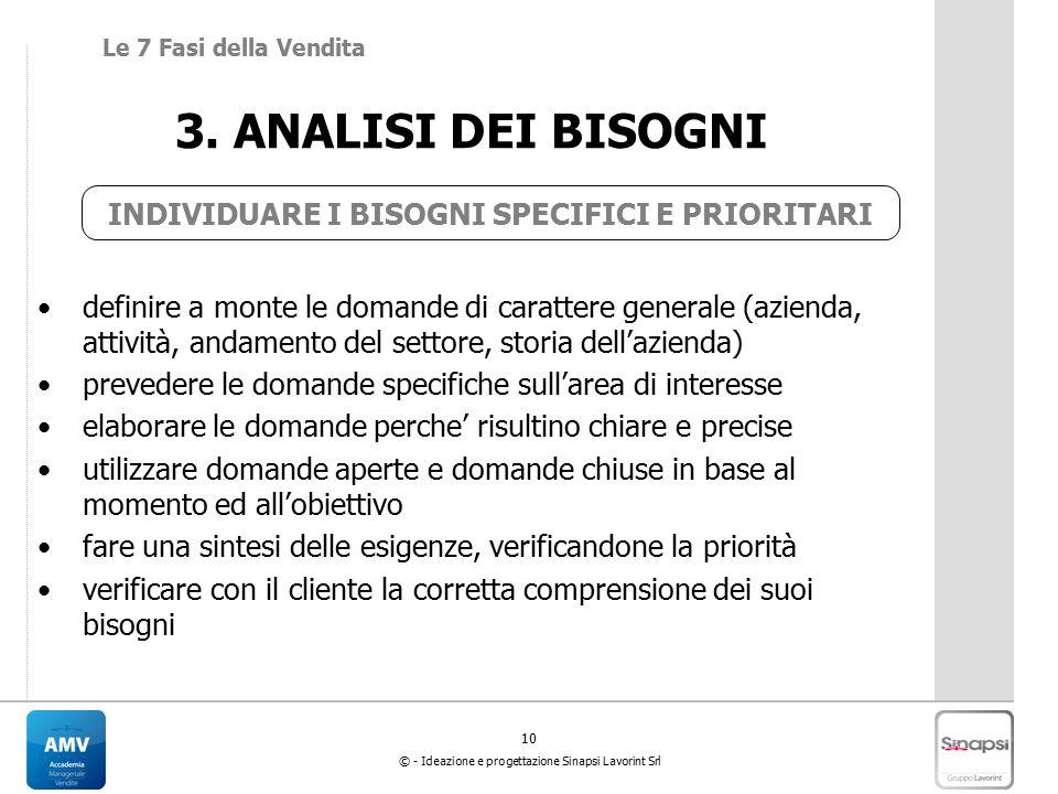 10 © - Ideazione e progettazione Sinapsi Lavorint Srl 3.