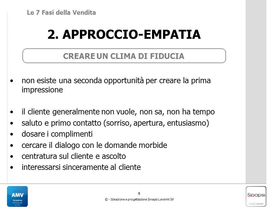 8 © - Ideazione e progettazione Sinapsi Lavorint Srl 2. APPROCCIO-EMPATIA CREARE UN CLIMA DI FIDUCIA non esiste una seconda opportunità per creare la