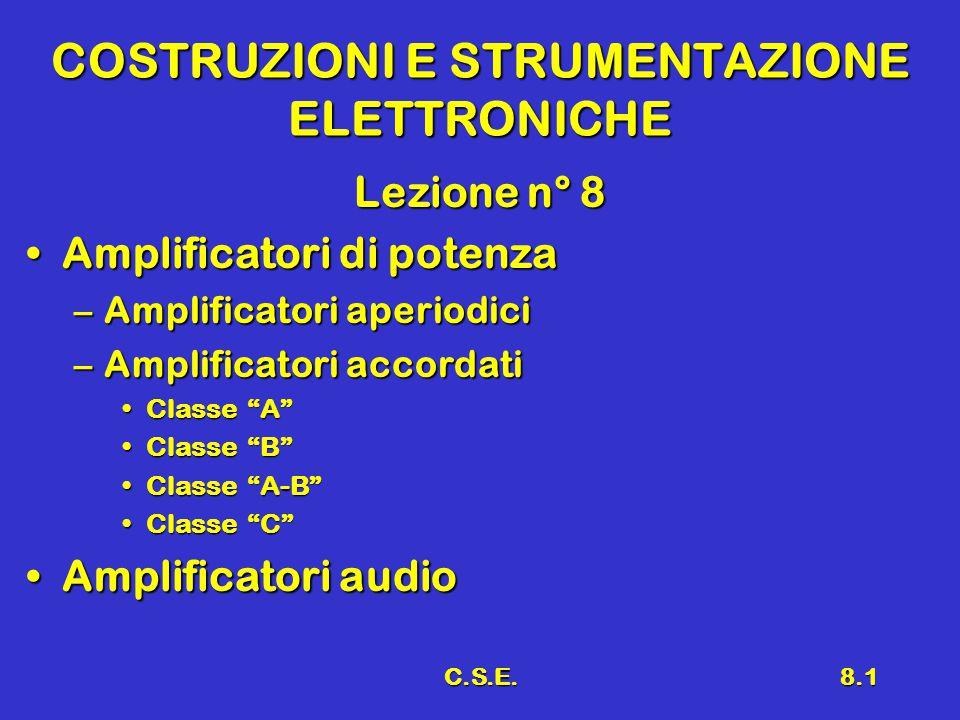 C.S.E.8.1 COSTRUZIONI E STRUMENTAZIONE ELETTRONICHE Lezione n° 8 Amplificatori di potenzaAmplificatori di potenza –Amplificatori aperiodici –Amplificatori accordati Classe A Classe A Classe B Classe B Classe A-B Classe A-B Classe C Classe C Amplificatori audioAmplificatori audio