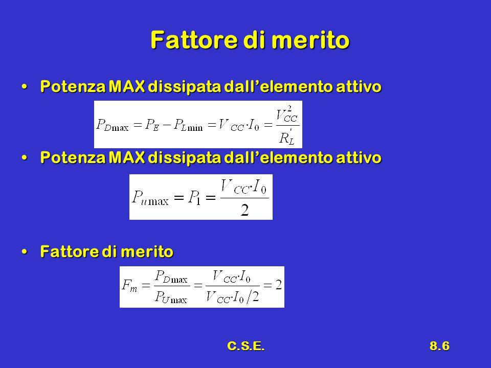 C.S.E.8.6 Fattore di merito Potenza MAX dissipata dall'elemento attivoPotenza MAX dissipata dall'elemento attivo Fattore di meritoFattore di merito
