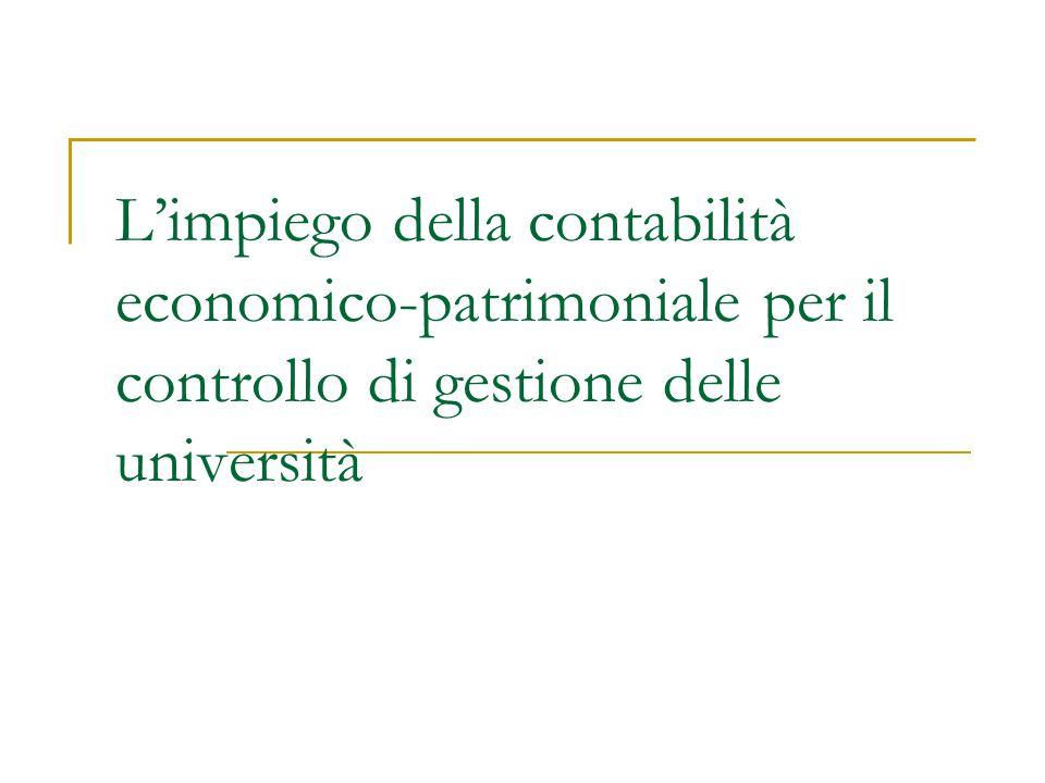 L'impiego della contabilità economico-patrimoniale per il controllo di gestione delle università
