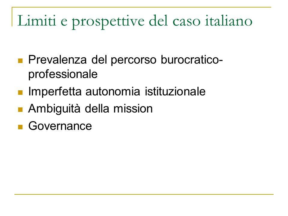Limiti e prospettive del caso italiano Prevalenza del percorso burocratico- professionale Imperfetta autonomia istituzionale Ambiguità della mission Governance