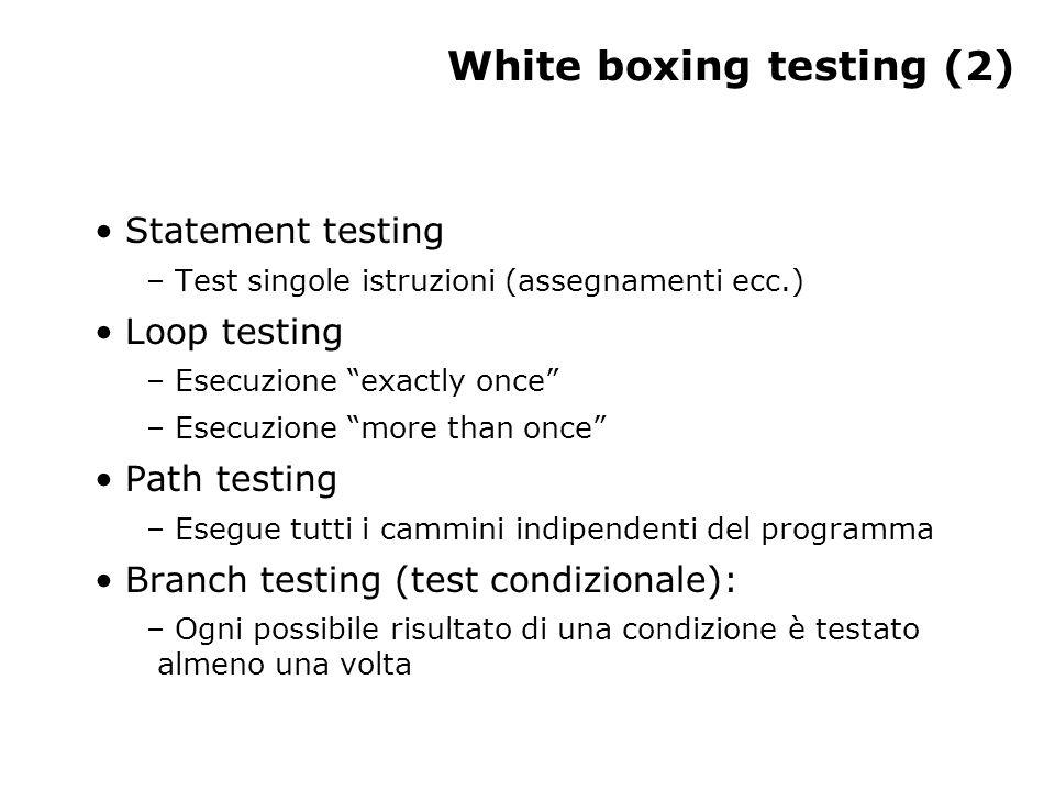 White boxing testing (2) Statement testing – Test singole istruzioni (assegnamenti ecc.) Loop testing – Esecuzione exactly once – Esecuzione more than once Path testing – Esegue tutti i cammini indipendenti del programma Branch testing (test condizionale): – Ogni possibile risultato di una condizione è testato almeno una volta